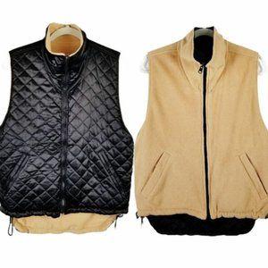 Halston Black Puffer & Tan Fleece Reversible Vest